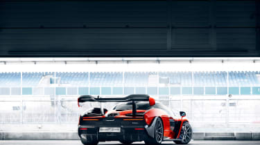 McLaren Senna at silverston - rear garage