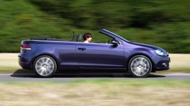 VW Golf Cabriolet roof down side profile