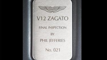 Aston Martin V12 Zagato Coupe – plaque