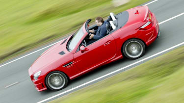 Mercedes SLK55 AMG red side profile