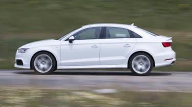 2013 Audi A3 Saloon white side profile