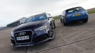 Audi RS6 v Vauxhall VXR8 Clubsport Tourer track video