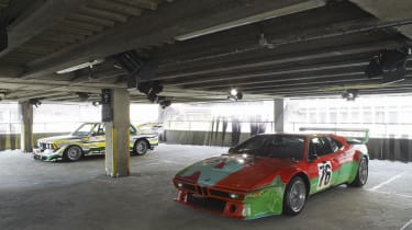 BMW 320i group 5 racing version by Roy Lichtenstein and the M1 group 4 racer by Andy Warhol