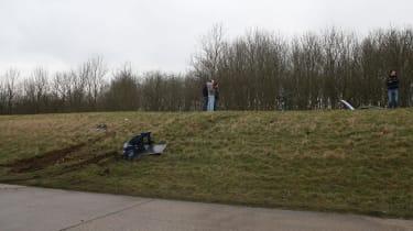 crashed 9ff GT9R skid marks