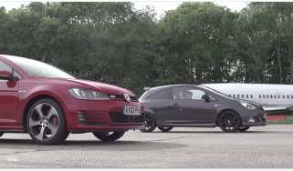 VW Golf GTI Performance Pack v Vauxhall Corsa VXR Clubsport: drag race
