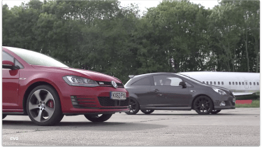 VW Golf GTI Performance Pack v Vauxhall Corsa VXR Clubsport: drag race