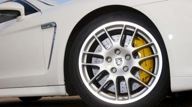 Porsche Panamera front wheel and brake caliper