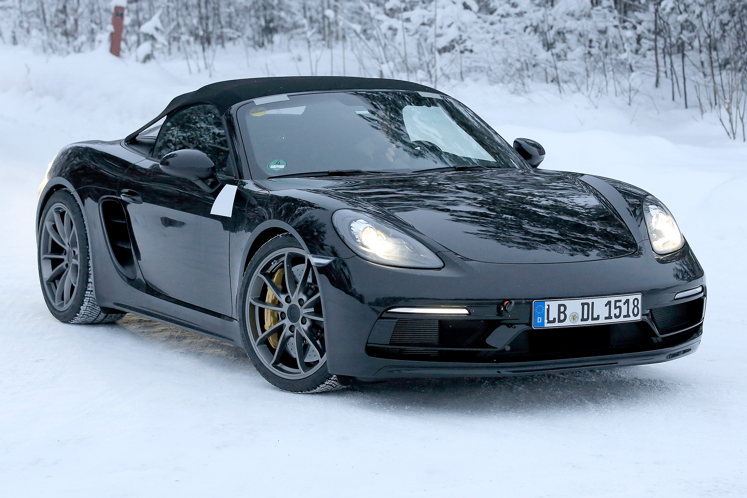Porsche Boxster 718 Spyder spied winter testing ahead of