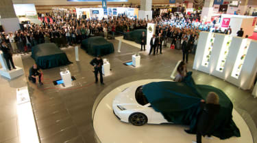 Lotus 2010 Paris motor show Brian May Naomi Campbell