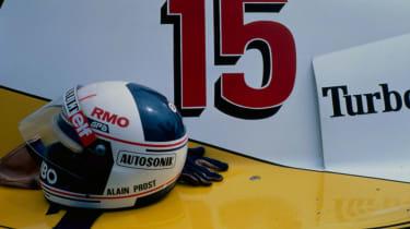 Alain Prost's helmet on the Renault RE40 (1983)