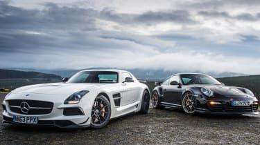 Porsche 911 GT2 RS & Mercedes-Benz SLS AMG Black Series - front