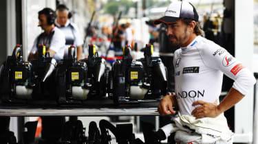 Fernando Alonso in McLaren pits