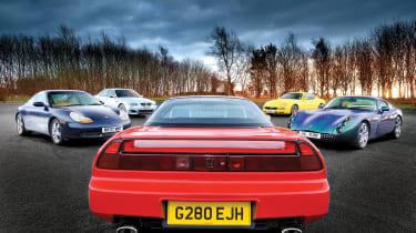 Honda NSX vs TVR Tuscan, BMW M5, Porsche 911 and Maserati 4200 GT