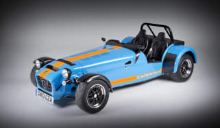 New Caterham 620R blue and orange front