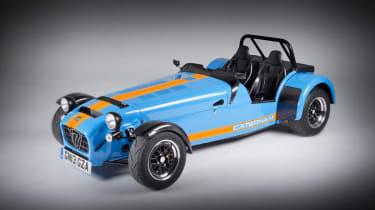 New Caterham 620R blue and orange front