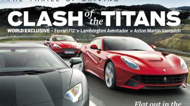 evo Magazine: May 2013 Ferrari F12 v Lamborghini Aventador v Aston Martin Vanquish