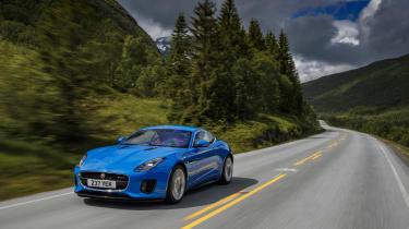 Jaguar F-type four-cylinder front three quarter tracking