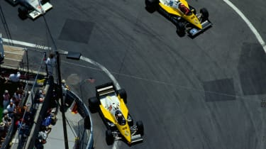 Alain Prost and Eddie Cheever driving their Renault RE40s (1983)