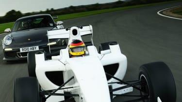 Formula 2 car v Porsche 911 GT3 RS