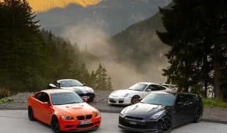 BMW M3 GTS v Porsche 911 GT3 RS v Nissan GT-R Spec V v Jaguar XKR 75