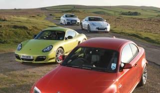 BMW 1-series M Coupe v Porsche Cayman R, Audi TT RS, Nissan 370Z