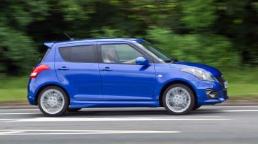 Suzuki Swift Sport five door side profile boost blue
