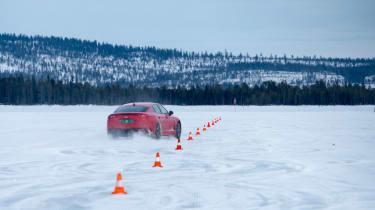 Kia Stinger GT prototype drive Sweden slalom