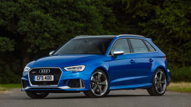 Audi RS3 hatch (facelift) UK press blue - front 3/4 static