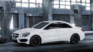 Mercedes CLA45 AMG white side profile