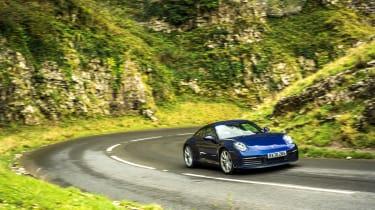 Porsche 911 Carrera S manual blue - action front