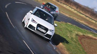Audi A1 Quattro and Mini GP cornering