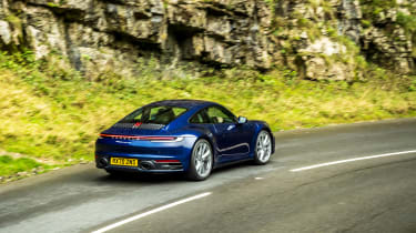 Porsche 911 Carrera S manual blue - rear action