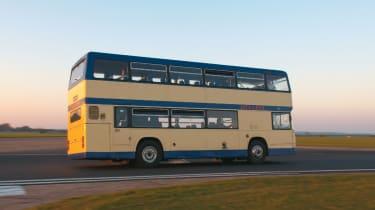 Double-decker bus cornering