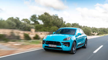 Porsche Macan S driven - Miami Blue front quarter