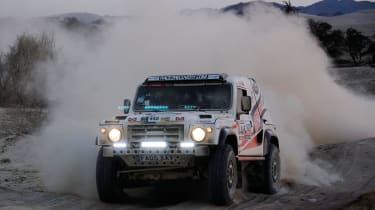 Race2Recovery Land Rover yumping on the Dakar Rally
