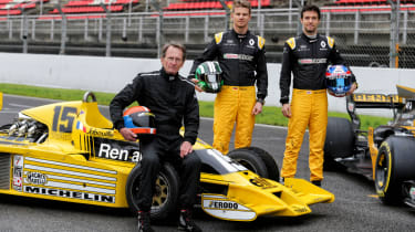 Jean-Pierre Jabouille, Nico Hülkenberg, Jolyon Palmer with the RS01 and RS17