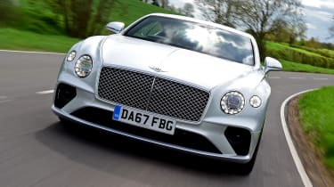 Bentley Continental GT review – silver tracking front