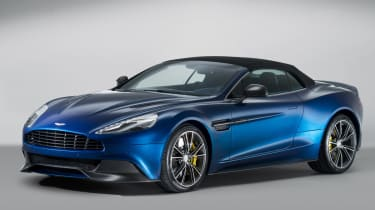 Aston Martin Vanquish Volante blue front roof up closed