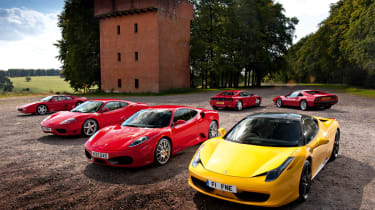 Ferrari 458 Italia meets 308, 348, F355, 360 and F430