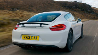 2013 Porsche Cayman white rear spoiler