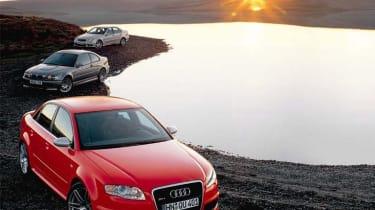 Audi RS4 v BMW M3 v Mercedes C55: Power Shift   Evo