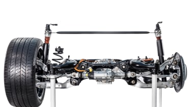 2018 Porsche Cayenne rear axle with coil springs on the left and air suspension on the right