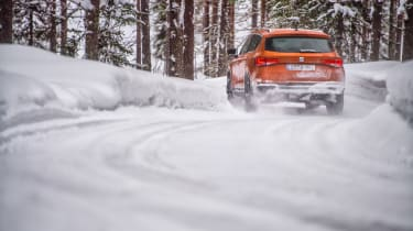 SEAT Ateca snow rear three-quarters
