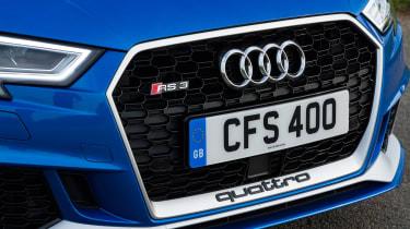 Audi RS3 hatch (facelift) UK press blue - grill