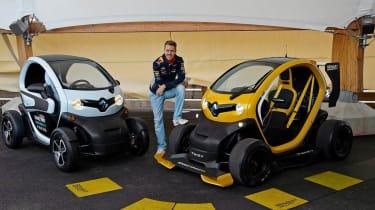 Champion Sebastian Vettel drives Renault Twizy F1