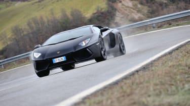Lamborghini Aventador cornering