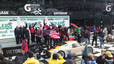 The winning Action Express team in Victory Lane