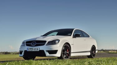 Mercedes C63 AMG Edition 507 white coupe