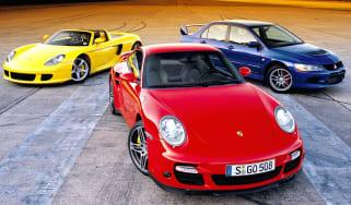 Porsche Carrera GT, 911 and Mitsi Evo IX