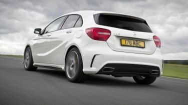 Mercedes A45 AMG white rear on track